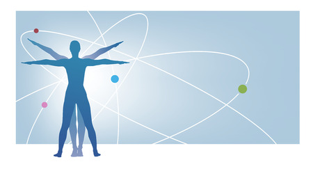 vitruvian: illustration showing the leonardo proportions with planets