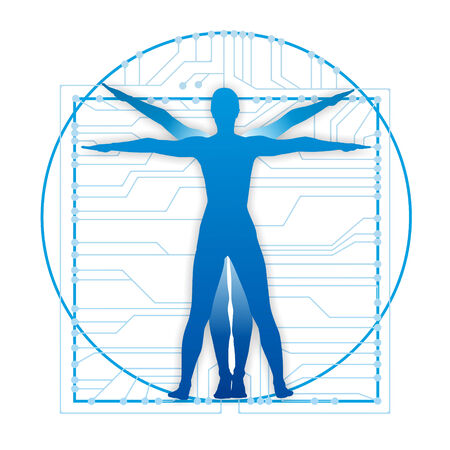 vitruvian: illustration showing the leonardo proportions with circuits
