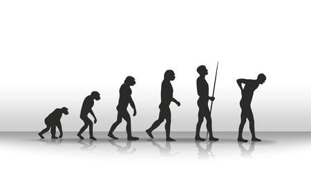 illustration of human evolution and back complaints illustration