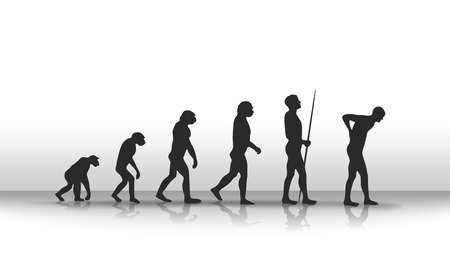 irony: illustration of human evolution and back complaints