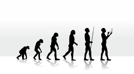 인간의 진화와 모바일 컴퓨팅의 그림 스톡 콘텐츠