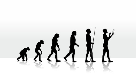 illustration of human evolution and mobile computing illustration