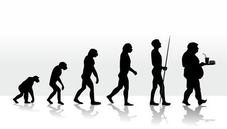 illustratie van de menselijke evolutie en eetgewoonten Stockfoto