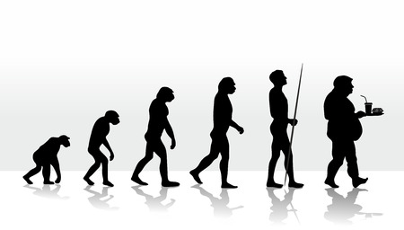 unhealthy living: illustration of human evolution and eating habits