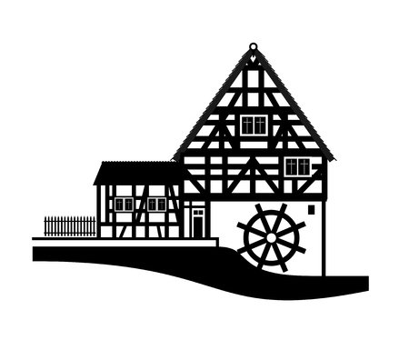 timbered: illustration of a timbered house with mill Stock Photo
