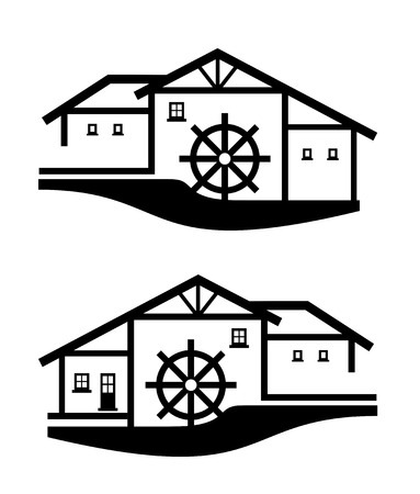 illustration of a two water mills with timbered houses