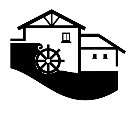 a simplified illustration of a water mill Imagens