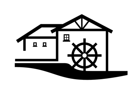 simplified: a simplified illustration of a mill complex Stock Photo