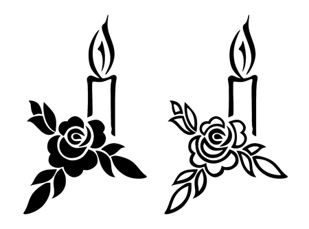 illustration of funerary decoration with rose and candle Stock Illustration - 23239388