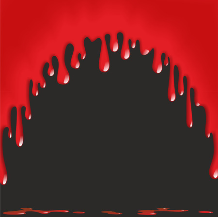bloodstain: illustration of dripping blood on black background Stock Photo
