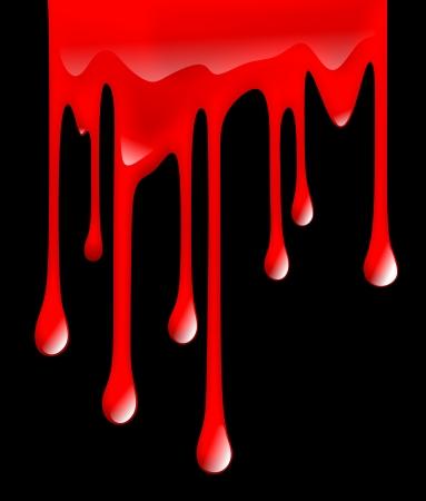 felony: illustration of dripping blood on black background Stock Photo