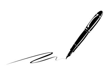 old pen: monochrome illustration of an old fountain pen Stock Photo