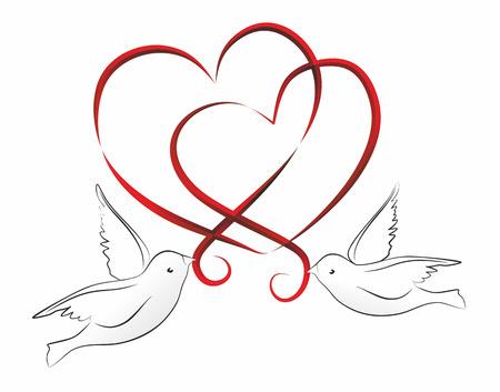 abstracte illustratie van twee harten en vogels Stockfoto