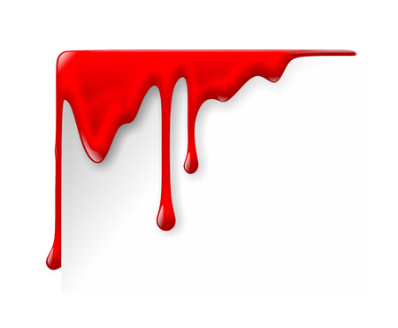 bloodstain: illustration of dripping blood on white background Stock Photo