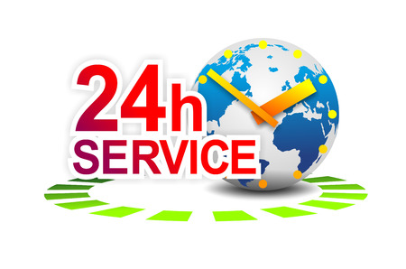 24 hour: illustration of a sign for 24 hour worldwide service