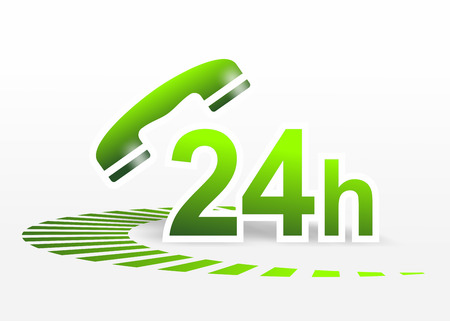standby: illustration of a sign for 24 hour telephone service