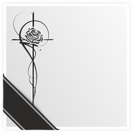 リボンと十字架上のローズの白黒イラスト
