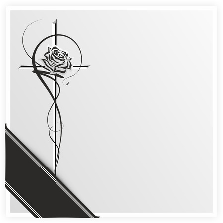 condolence: monochrome illustration of a rose on a cross with ribbon Stock Photo
