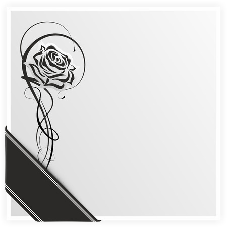 condolence: monochrome illustration of a rose with ribbon