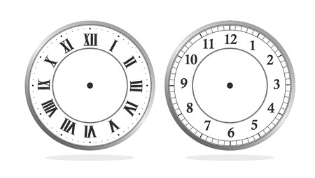 clock hands: illustration of a clock with roman and latin numerals Stock Photo