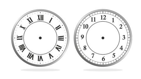 reloj de pared: ilustraci�n de un reloj con n�meros romanos y latinos Foto de archivo