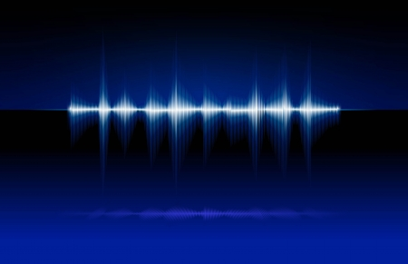 abstract illustration of a sound wave on blue background illustration