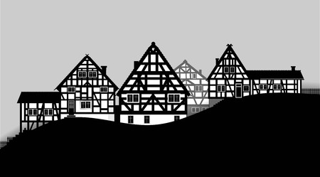 timbered: illustration of timbered houses of a small village