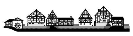 전원시의: 작은 마을의 목조 주택의 그림 일러스트