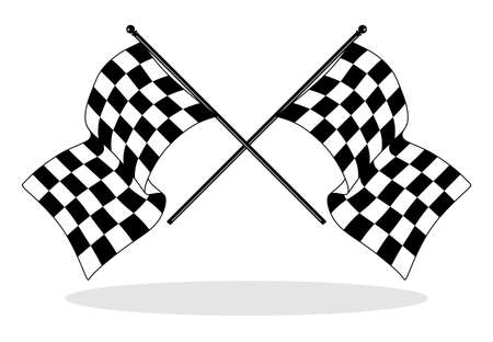 racing checkered flag crossed: illustration of a checkered flag for car racing in black and white