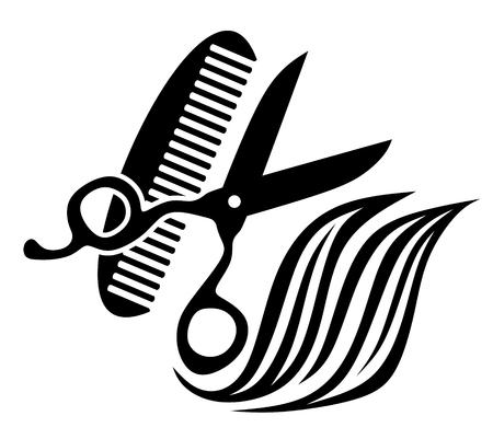 peigne et ciseaux: illustration abstraite de l'�quipement utilis� par les coiffeurs Illustration
