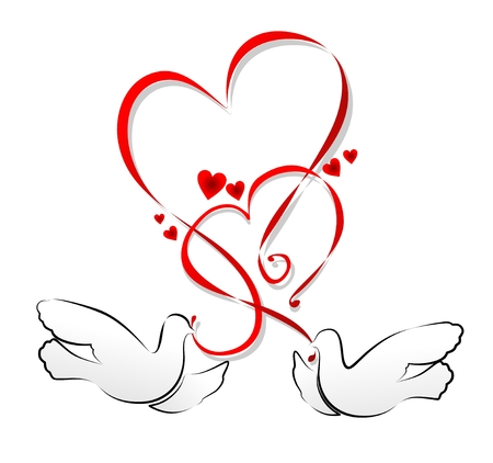 illustration of a heart ornament with pigeons Vector