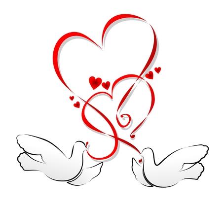 decoracion boda: ilustraci�n de un ornamento del coraz�n con las palomas