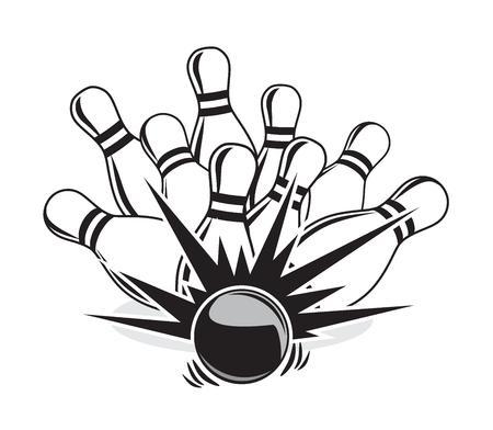 illustration of a strike at a bowling game Illustration