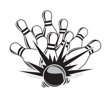 illustration of a strike at a bowling game 向量圖像
