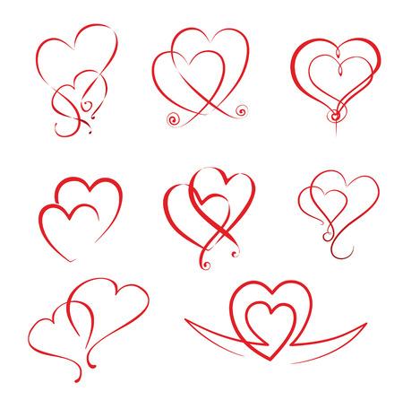illustratie van verschillende eenvoudige harten en hart ornamenten