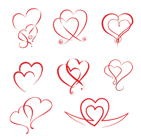 illustration of different simple hearts and heart ornaments