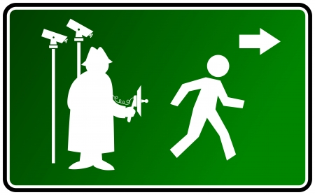 civil rights: illustration of a sign warning of surveillance and spying