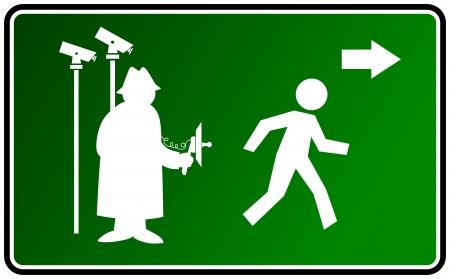 espionaje: ilustraci�n de un signo de advertencia de vigilancia y espionaje