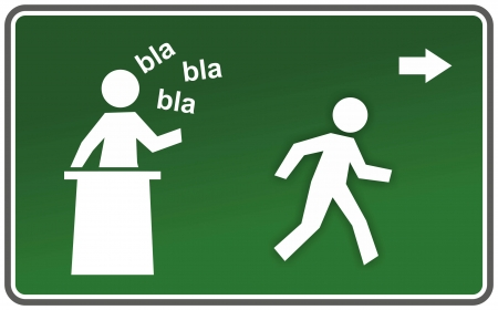 sign with boring speaker and escaping figure