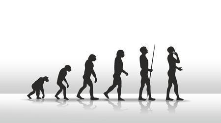 illustration of human evolution ending with smart phone