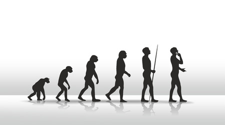 evolucion: ilustraci�n de la evoluci�n humana que termina con el tel�fono inteligente Foto de archivo