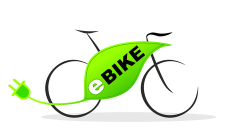 simplified illustration of an e-bike with plug 版權商用圖片 - 23759154