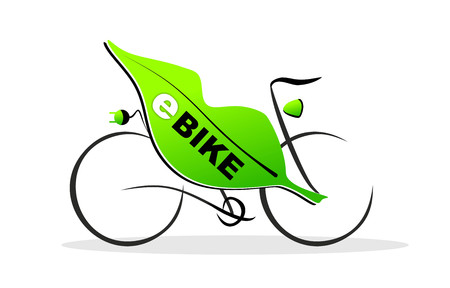 simplified illustration of an e-bike with plug illustration