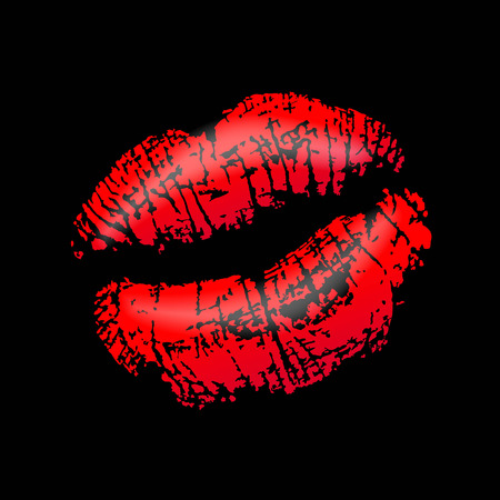 mouth with red lipstick on black background photo