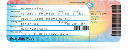 illustration of a flight ticket for a journey illustration