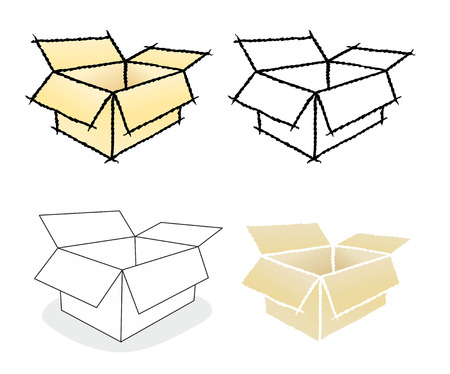 forwarding agency: different illustrations of moving boxes and cartons Stock Photo