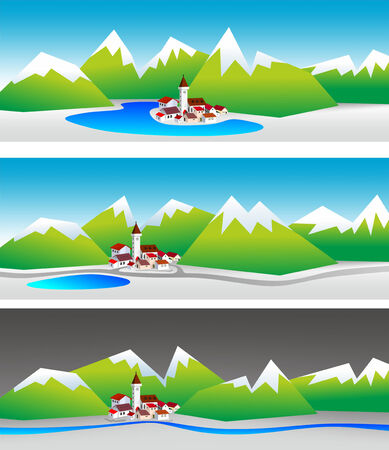 simplified: simplified illustration of a small mountain village with red rooftops