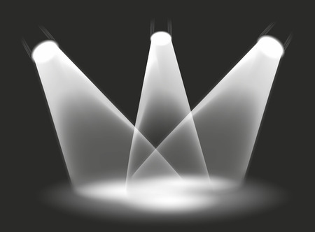 illustration of three spotlights on a stage illustration