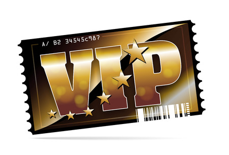 illustration of a golden and exclusive VIP ticket illustration