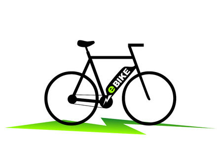 simplified: simplified illustration of an e-bike with plug